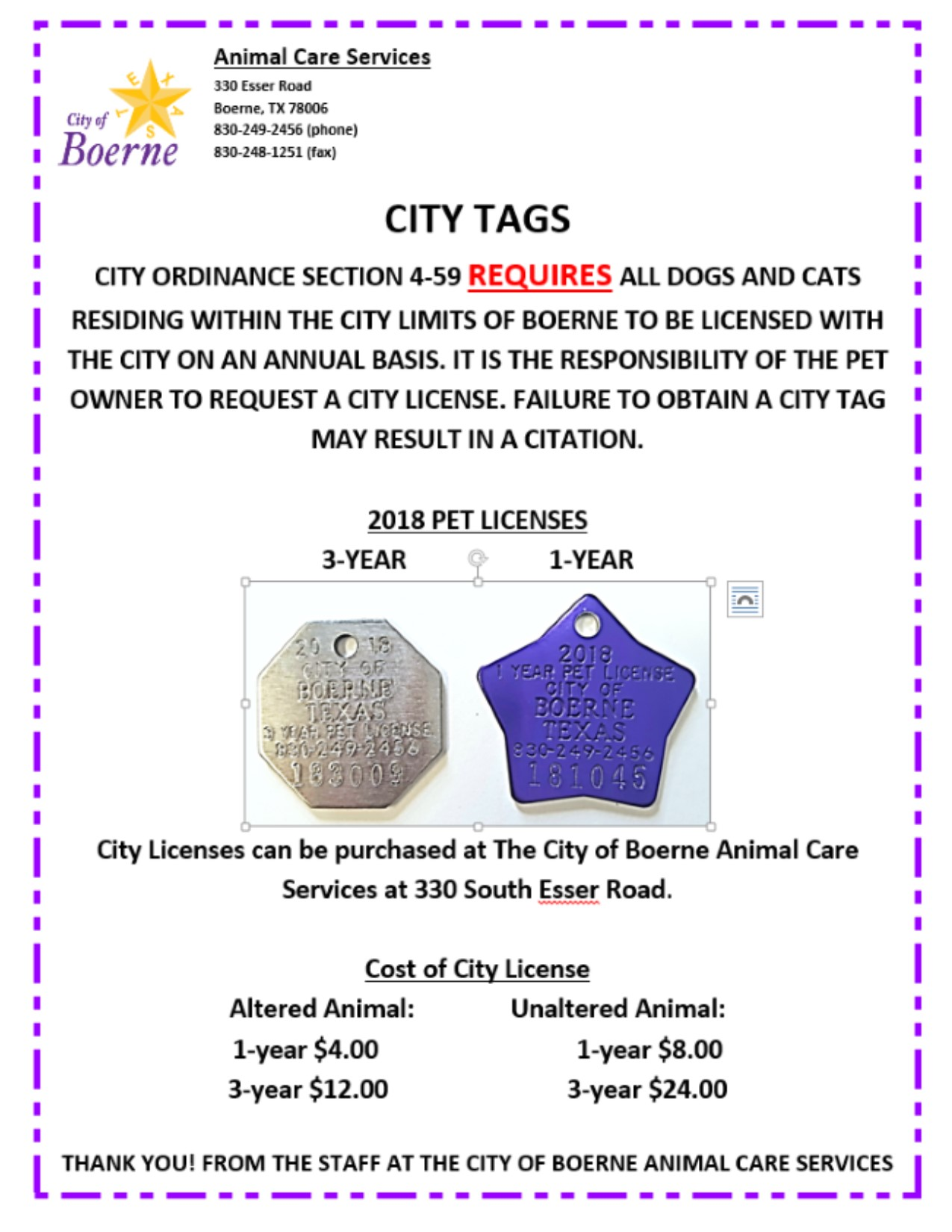City license poster 2018
